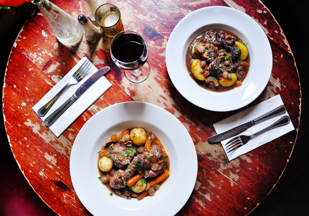 The Coq au Vin (Bastille Day) and Beef Bourguignon £14.95 (Current Menu). A great choice for two.