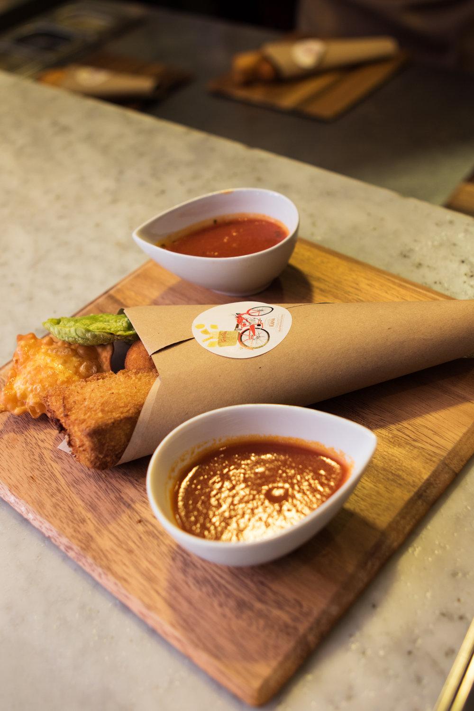 Polenta Fritters with Arrabbiata Sauce