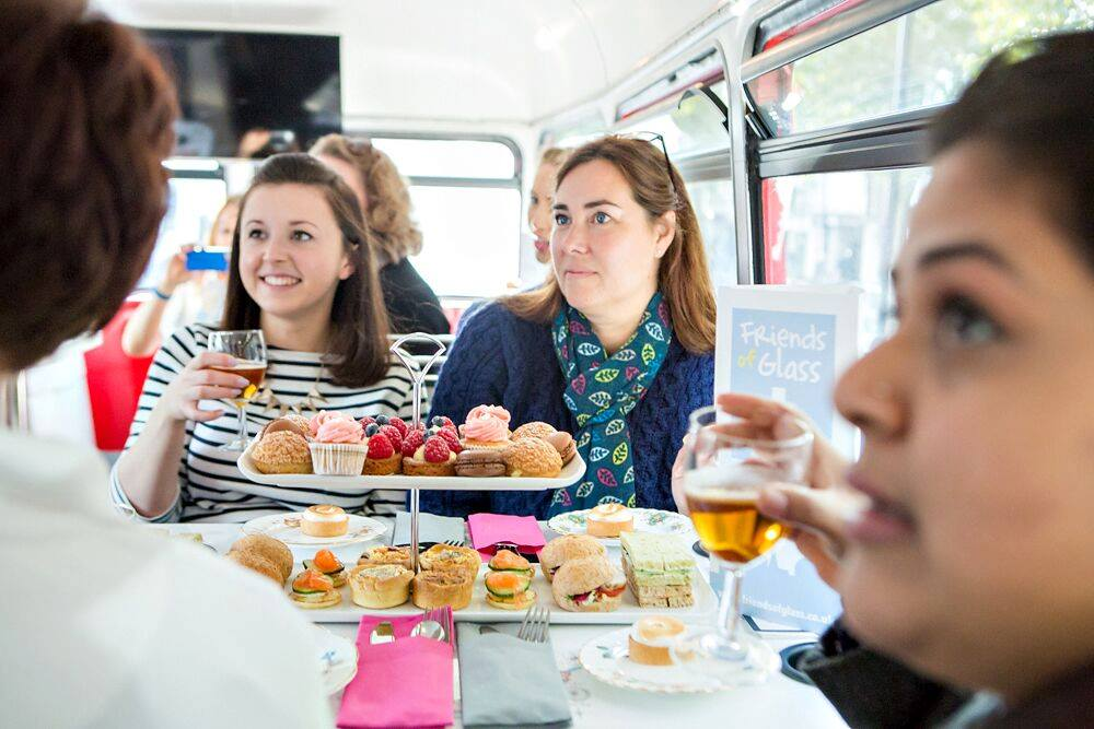 At the Friends of Glass event with Jane Peyton and BB Bakery - Beer and Afternoon Tea Tasting on a vintage bus around London.