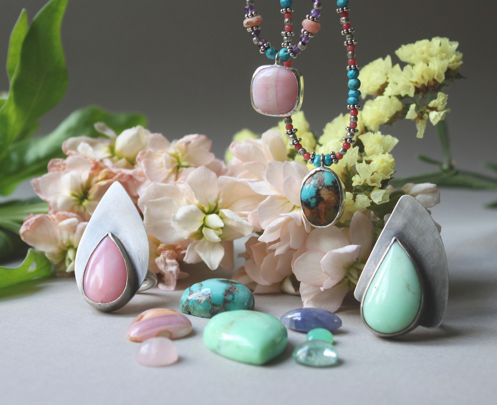 Pink Opal Shield Ring   Chrysoprase Shield Ring   Pink Opal Choker    Turquoise Choker