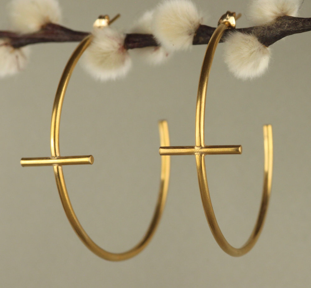 Gold Large Cross Hoops £165