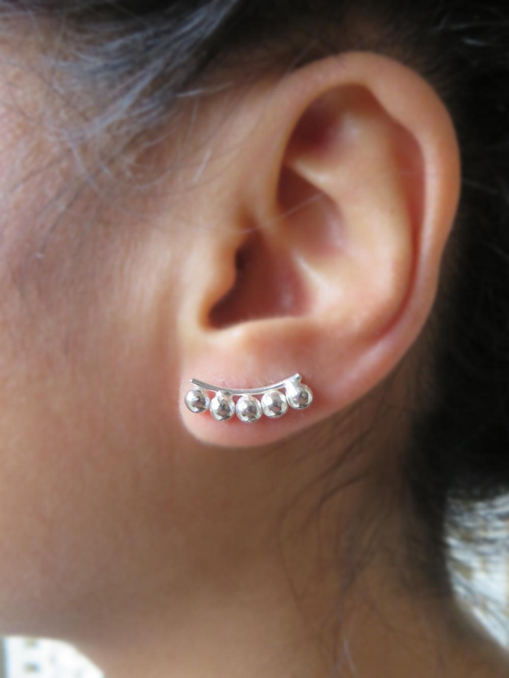 Silver Studded Ear Climbers
