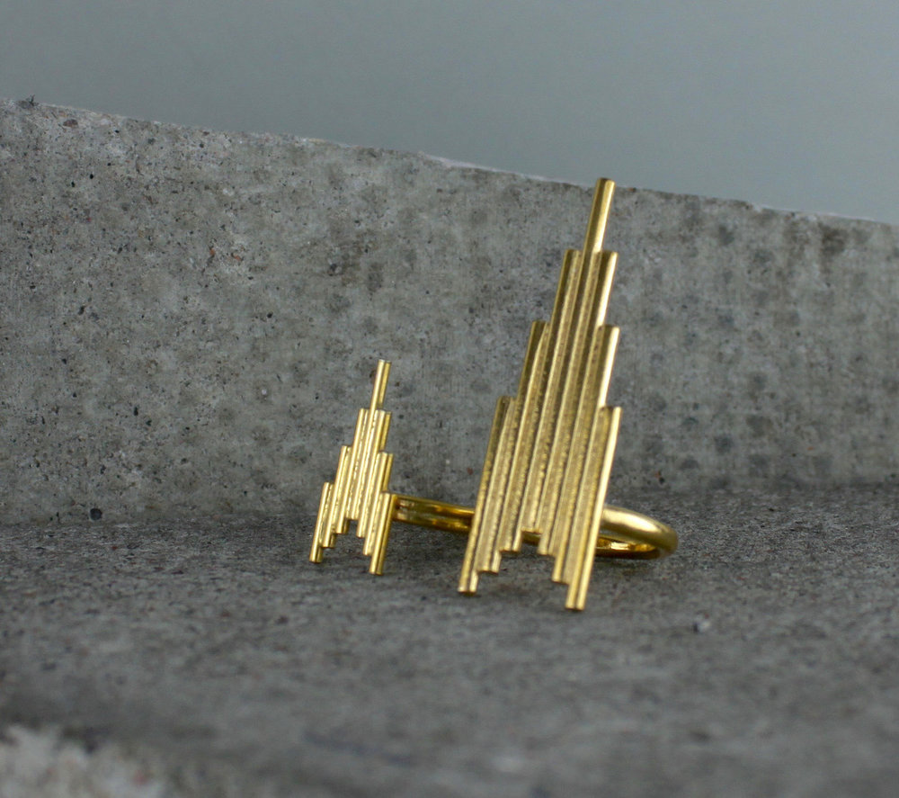 Gold Skyline Rings