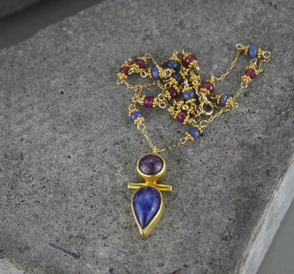 Star Ruby Tanzanite Gold Totem Amulet Necklace Marcia Vidal.jpg