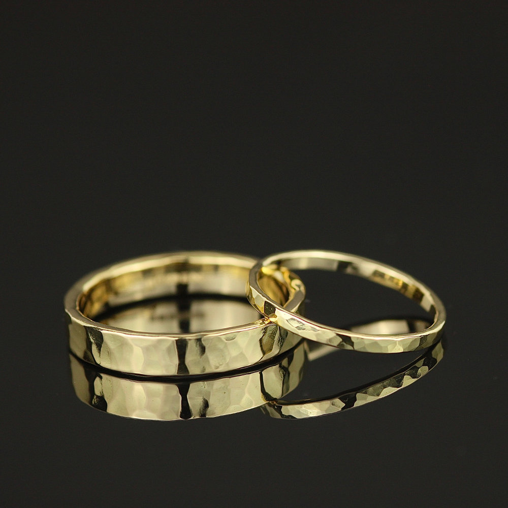 18ct gold hammered his & hers wedding bands Marcia Vidal 2.jpg