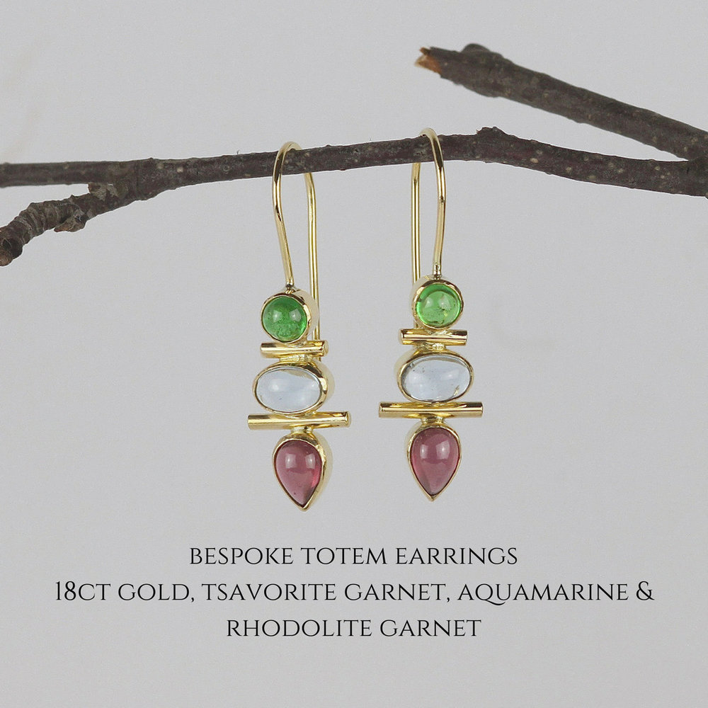 bespoke totem earrings18ct gold, tsavorite garnet, aquamarine & rhodolite garnet.jpg