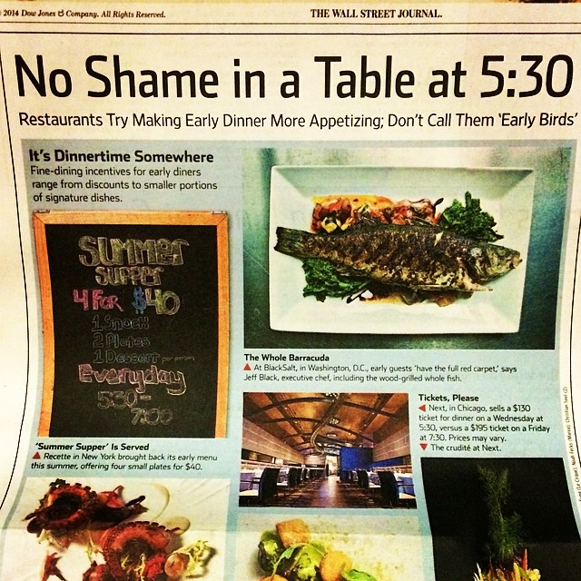 Pick up a copy of today's @wsj - we're on the cover of the Personal Journal section! #exciting #summersupper #nyc #dining #deal #steal #earlydining #wsj #frontcover #newspaper