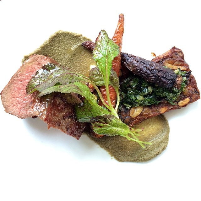 "New dish alert: Roasted Lamb Loin, Lamb Bacon, ""Feijoada"", Caper Purée, Gremolata #new #dish #lamb #twoways #bacon #heirloom #carrots #nyc #westvillage"