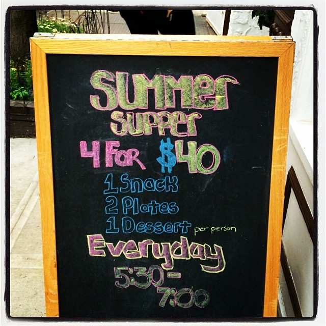 It's all about the Summer Supper over here. Get your 4 for $40 on every day from 5:30-7PM! #SummerSupper #4for40 #nyc #westvillage #dining #deal #steal #choosefromtheentiremenu