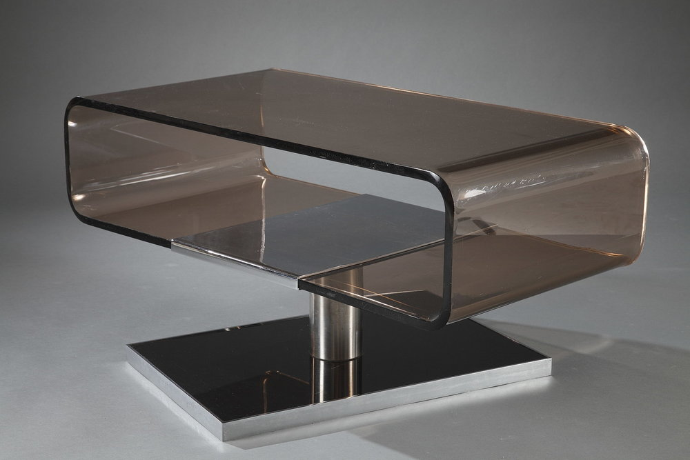 table basse en plexiglas des ann es 1970 meubles. Black Bedroom Furniture Sets. Home Design Ideas