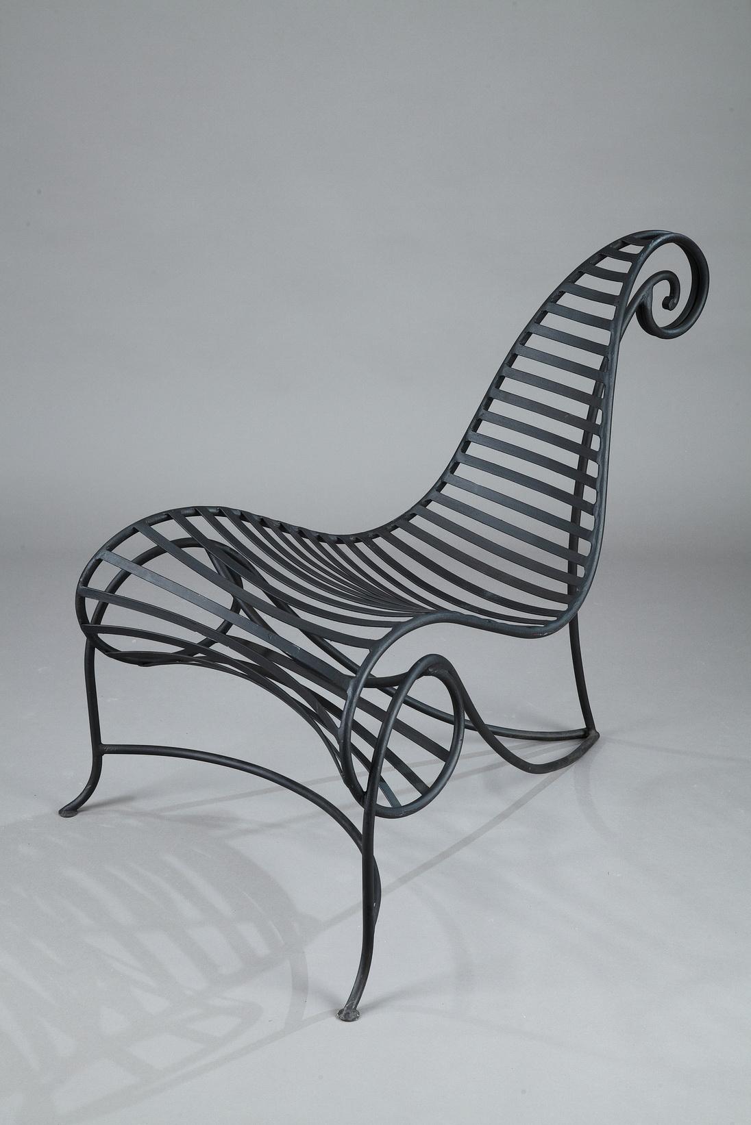 fauteuil spine en fer forgé de andré dubreuil — meubles