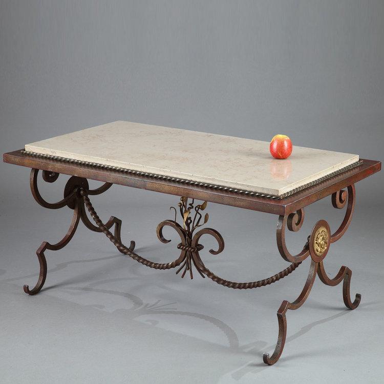 table basse en fer forg et marbre dans le style de gilbert poillerat