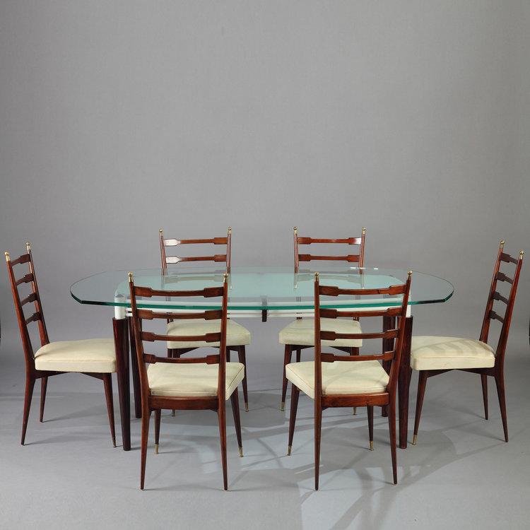 Table De Salle A Manger Et Six Chaises En Acajou Design Italien