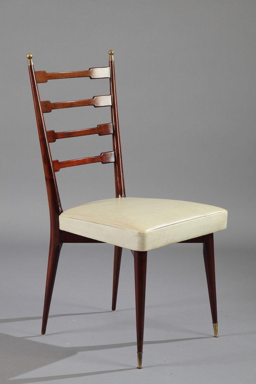 table de salle manger et six chaises en acajou design italien des ann es 60 meubles. Black Bedroom Furniture Sets. Home Design Ideas