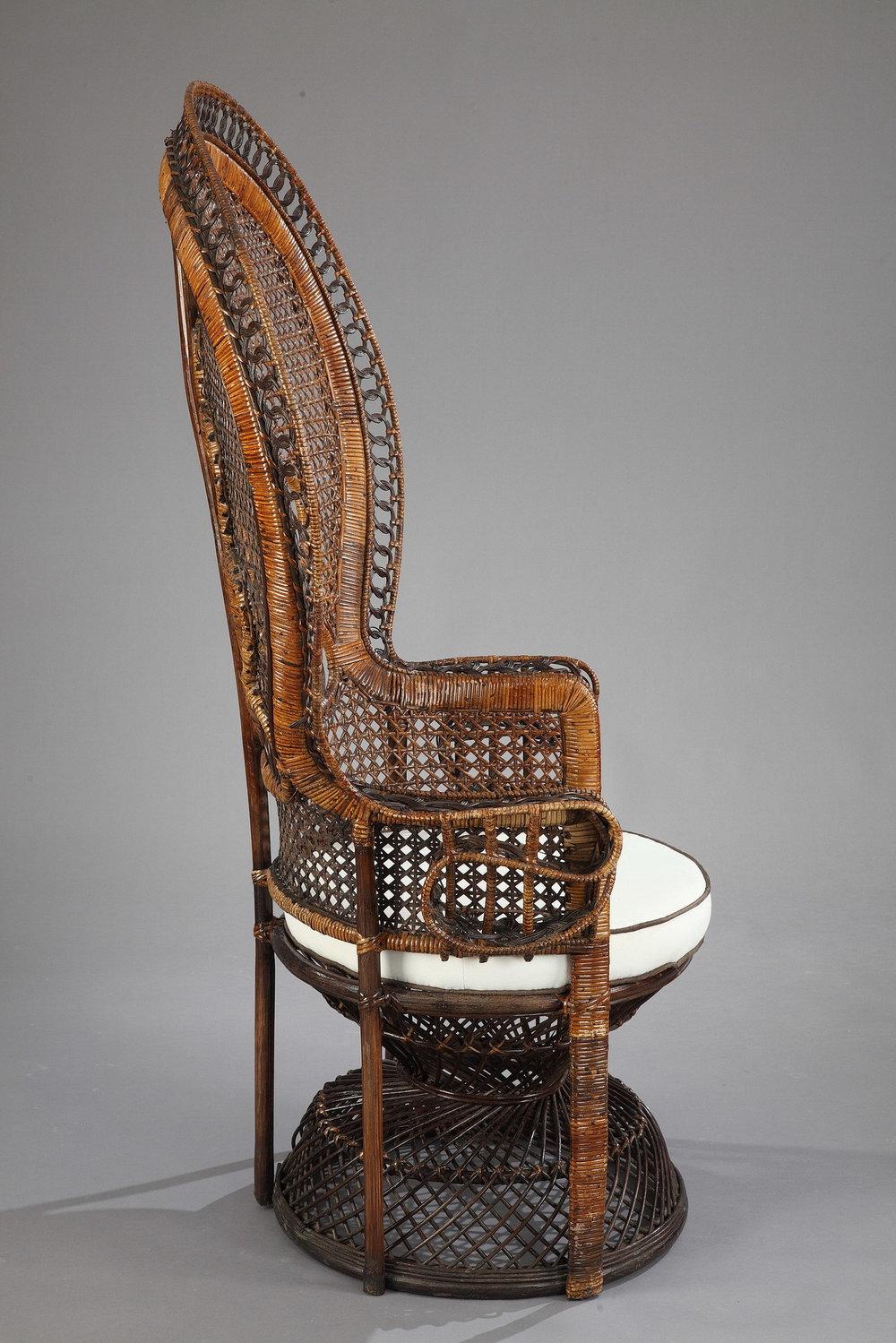 fauteuil en rotin haut dossier emmanuelle meubles. Black Bedroom Furniture Sets. Home Design Ideas