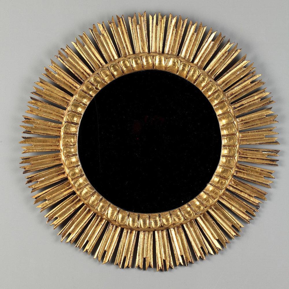 Miroir soleil en bois dor meubles for Miroir des 7 astres