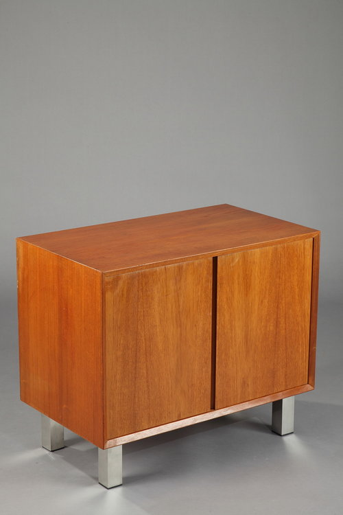meuble bas danois en placage de teck deux vantaux - Meuble Danois