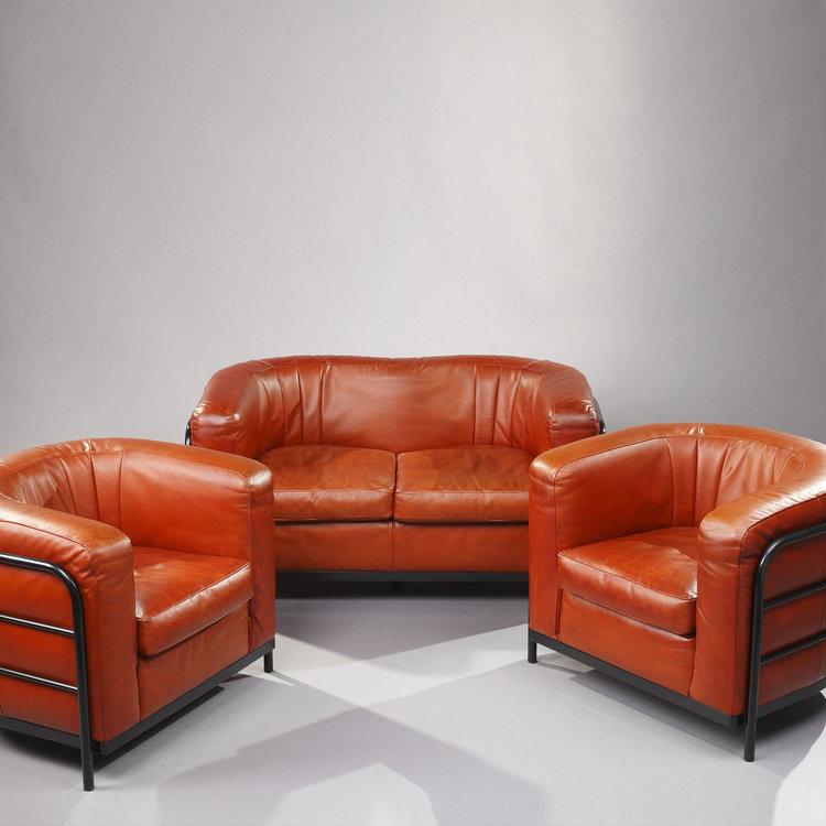 Mobilier de salon : canapé et 2 fauteuils en cuir modèle \