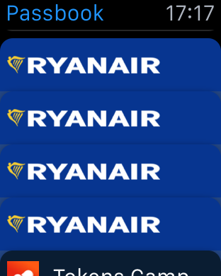 Apple Watch showing four Ryanair boarding passes