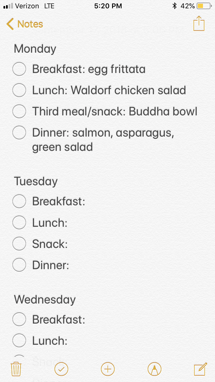 Example meal planning outline using an iPhone note.