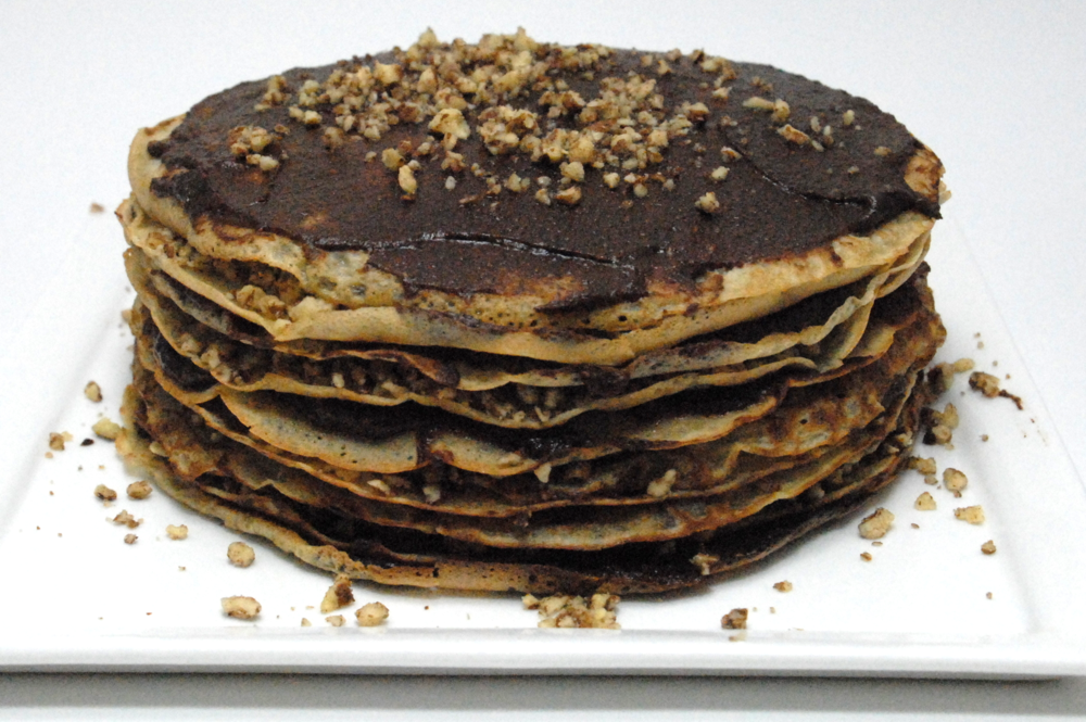Crepe torte with Forte Chocolate date spread