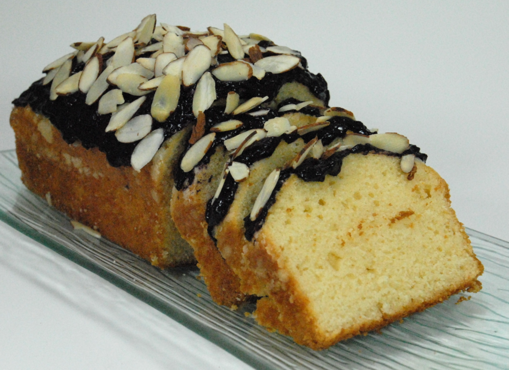 Pound cake with Forte Blueberry date frosting.JPG