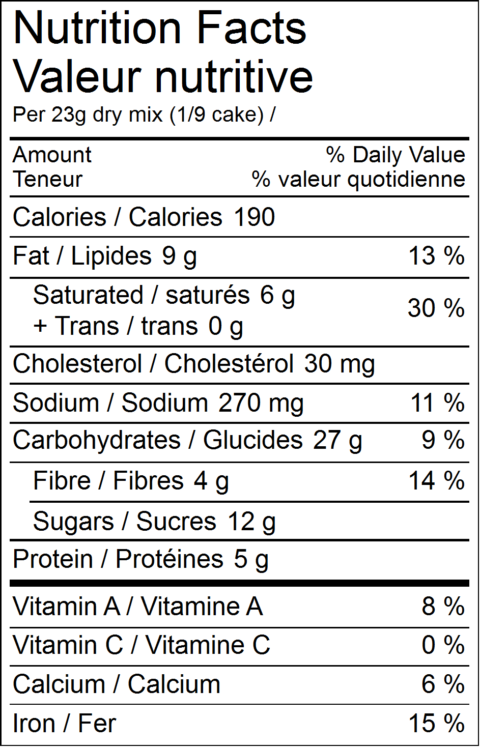 Forte chocolate cake mix nutritional facts