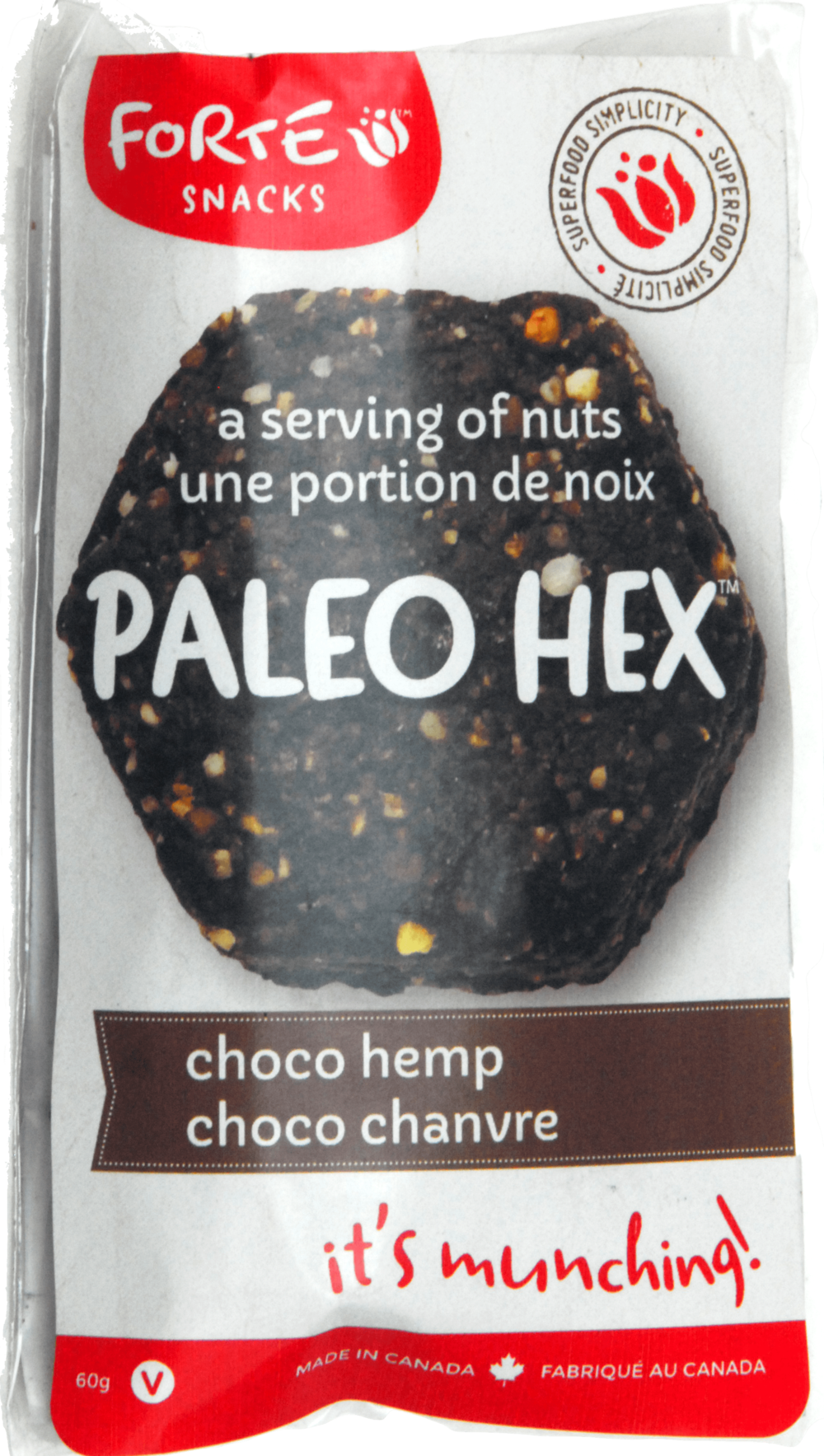 Choc-Hemp snack label