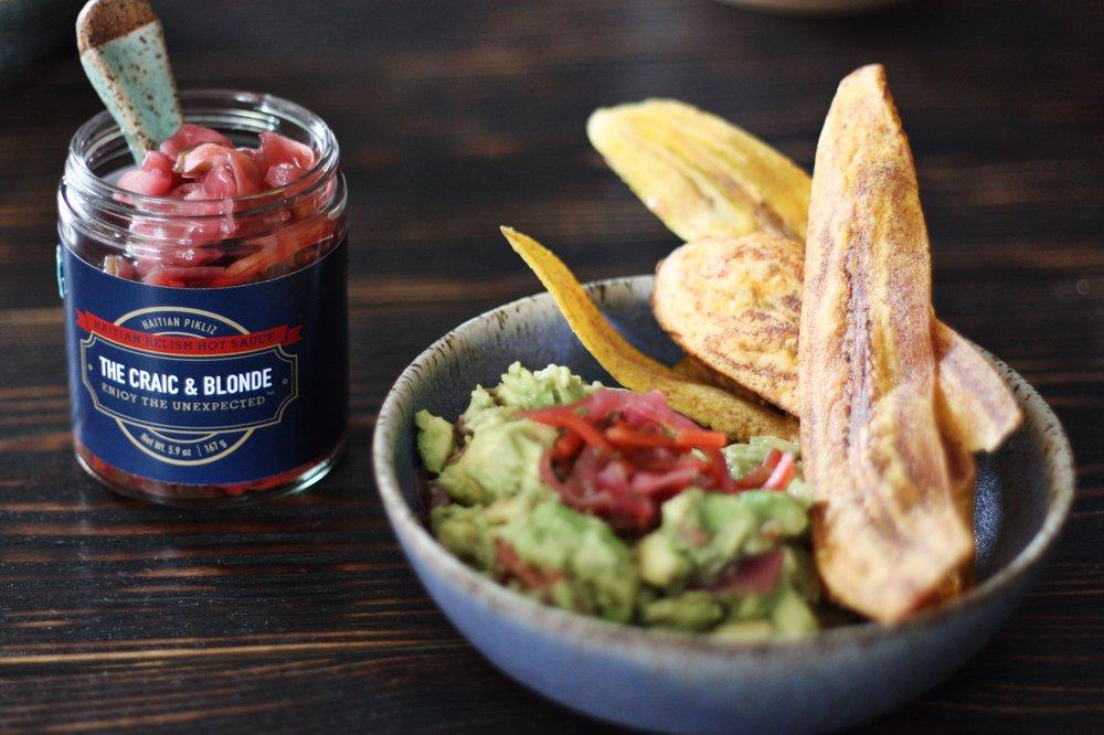 pikliz jar + haitian guac + plantain chips.JPG