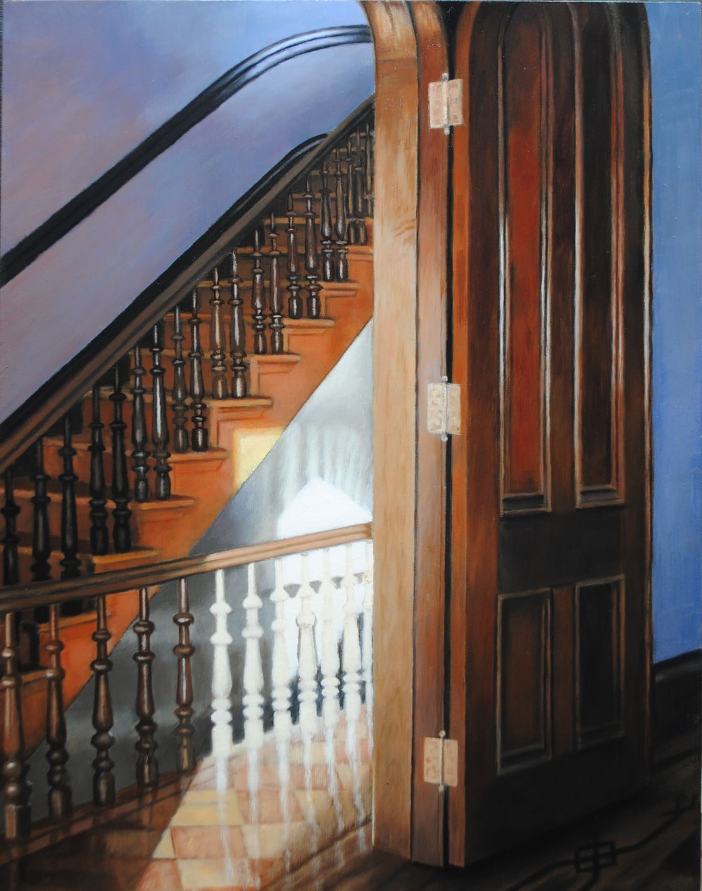 STAIRS FOR GOOD,  oil on panel,  14x11 inches