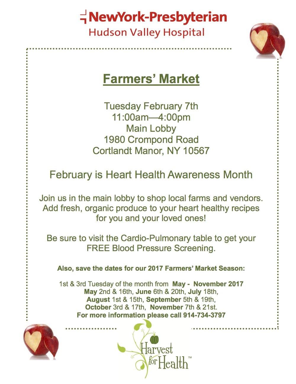 Hudson Valley Harvest for Health Farmers Market