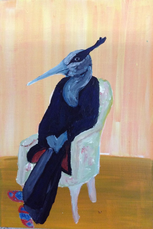blue heron in chair