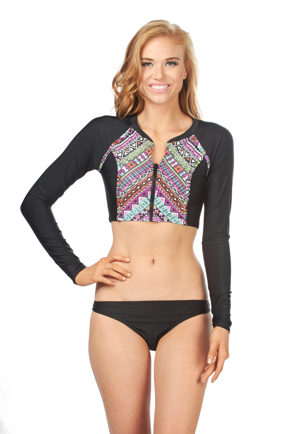 BL5W763 - DON'T WORRY BE STRAPPY CROPPED RASHGUARD $42 BL5Y391 - BLACK SKIMPY HIPSTER $32