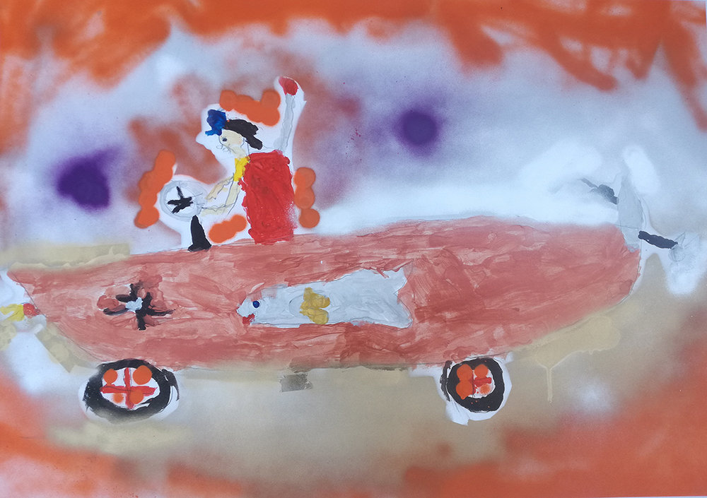 Overall Winner: Maria Williamson  Fish Car , acrylic on canvas  Category: Transport