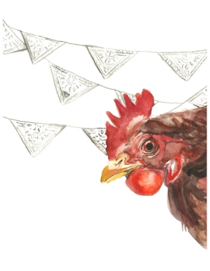 rooster with pennant PRINT $15