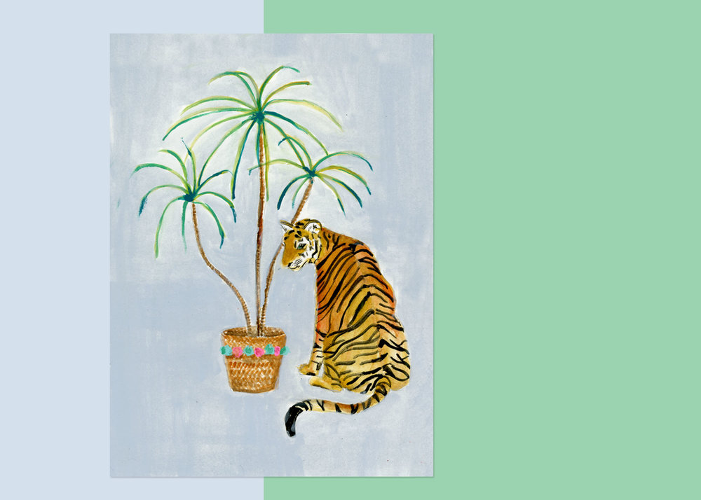 5 X 7 TIGER WITH PLANTS $75