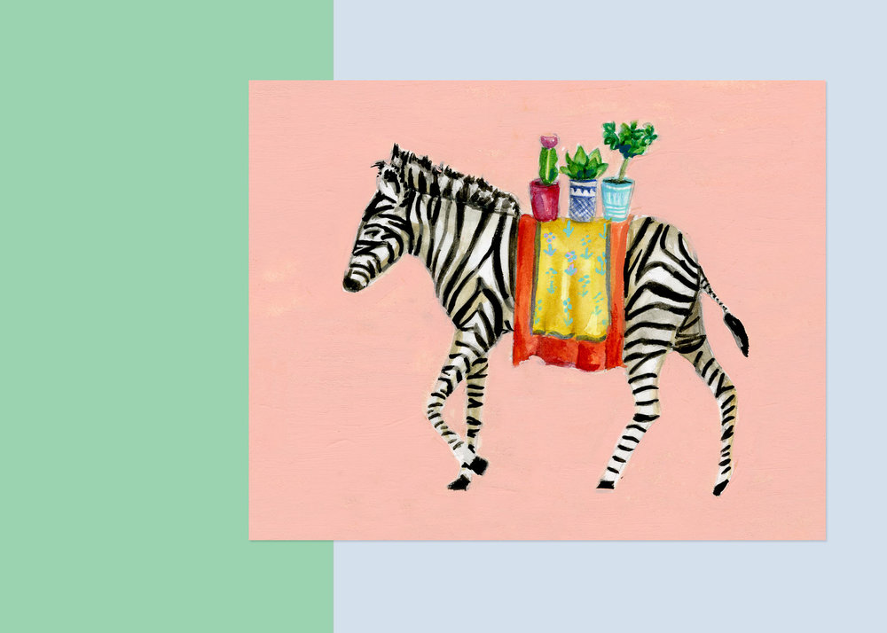 5 X 7 ZEBRA WITH PLANTS   private collection