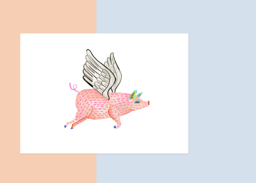 5 X 7 OAXACA FLYING PIG   private collection