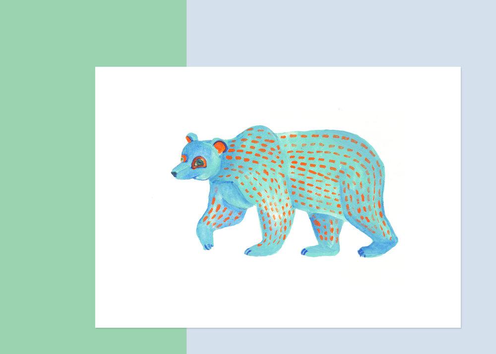 5 X 7 OAXACA BLUE BEAR $50
