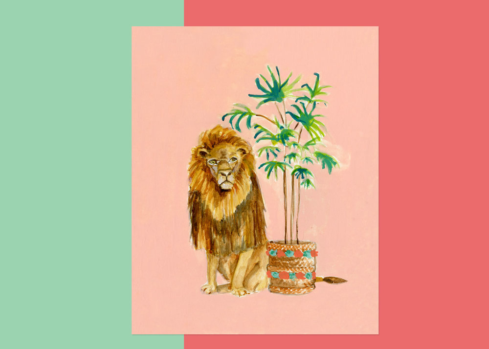 5 X 7 LION WITH PLANTS $75