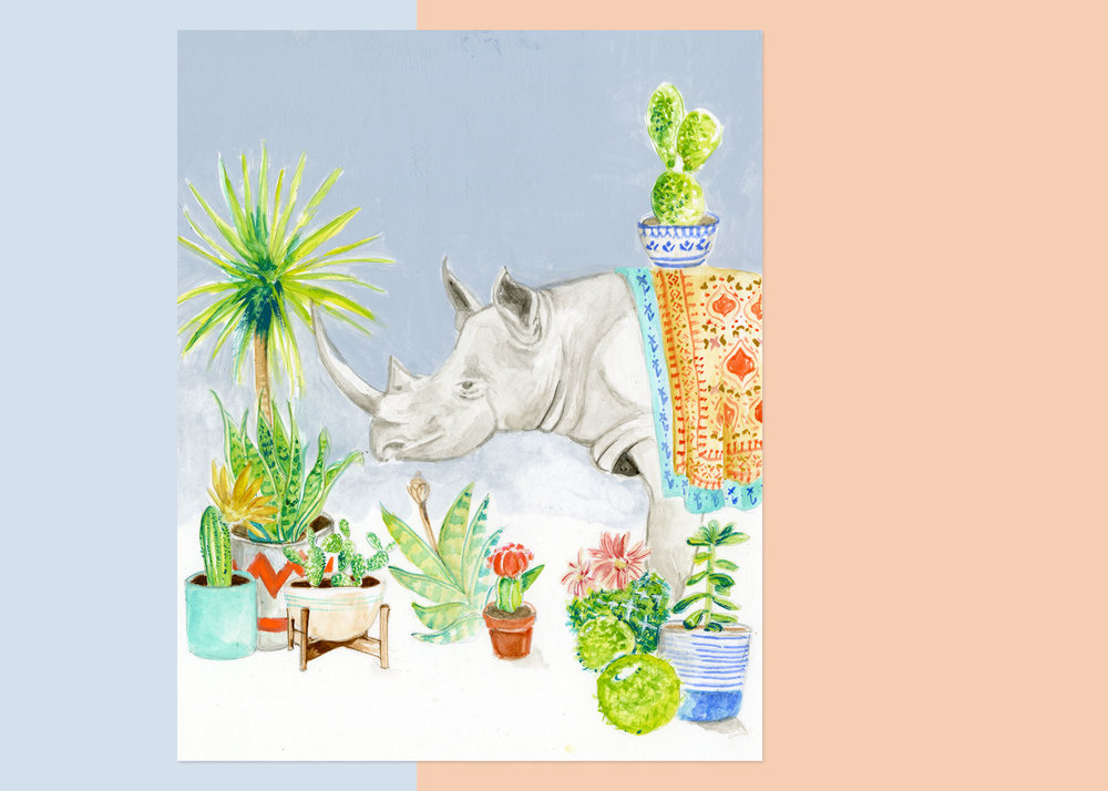8 X 10 rhino WITH PLANTS private collection