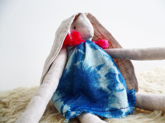 Boho bunny with hand dyed indigo dress   $74