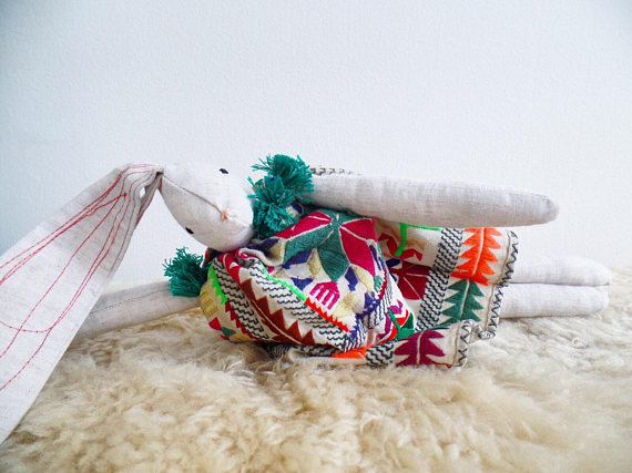 boho bunny with vintage embroidered dress   $74
