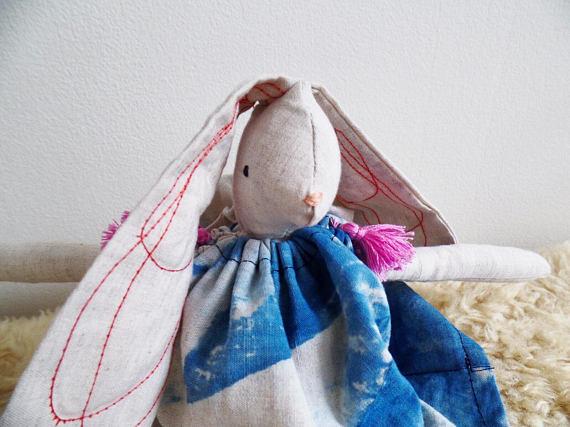 Boho bunny with hand dyed indigo dress   $74
