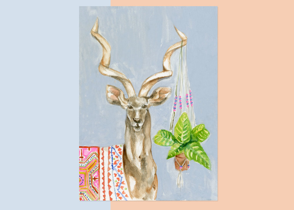 KUDU WITH PLANT-  coming soon