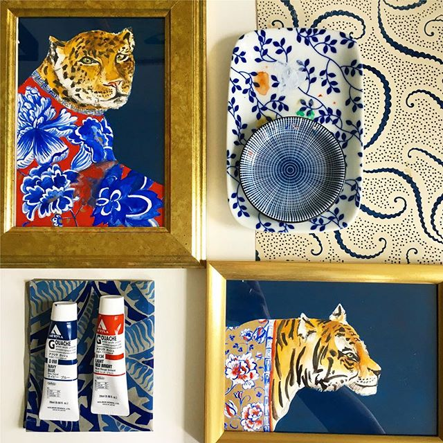 I love pairing my illustrations with some of my favorite textile finds. Indigo on top of indigo is one of my faves, especially with these two kitty's! . . . . . . . . #BOTANICAL #BOTANICALART #BOTANICALILLUSTRATION #ILLUSTRATION #ILLUSTRATOR #GOUACHE #WATERCOLOR #WATERCOLOUR #PAINTING #FLORAL #DESIGN #SURFACEDESIGN #FLORALPAINTING #INSTAFLOWERS #FLORALDESIGN #FLORALPRINT #FLOWERS #FLOWERPRINT #PRINTANDPATTERN #PATTERN #ART #CATLOVER #INDIGO #WATERCOLOR #WALLART #WALLDECOR #DECOR