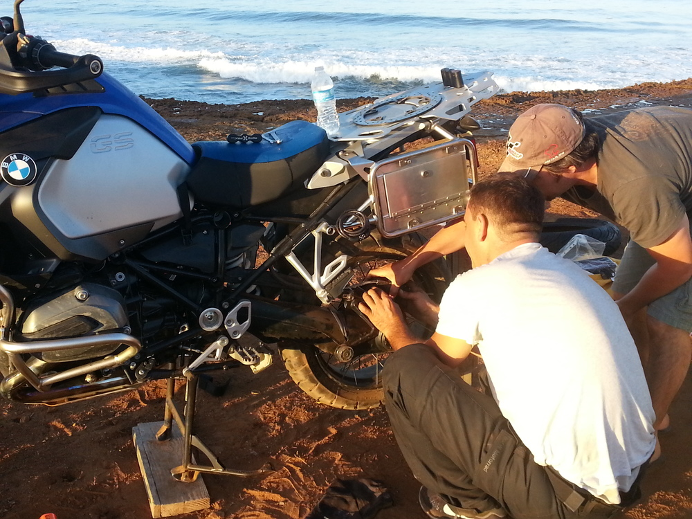 Bike repair by the beach...