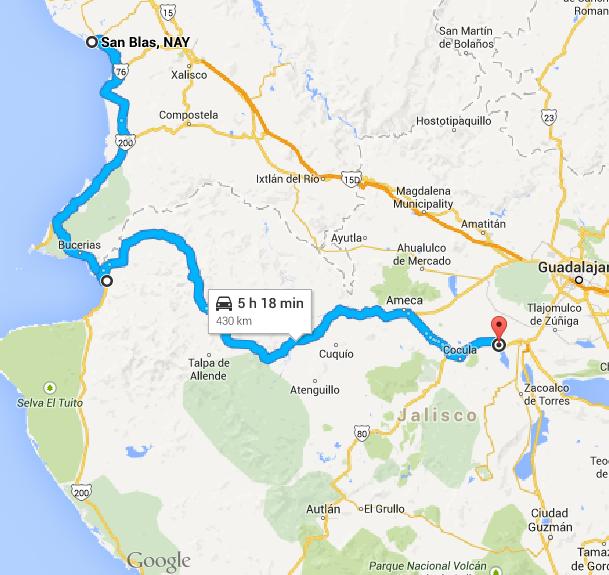 San Blas to Villa Corona. Over the peakon wet and winding roads