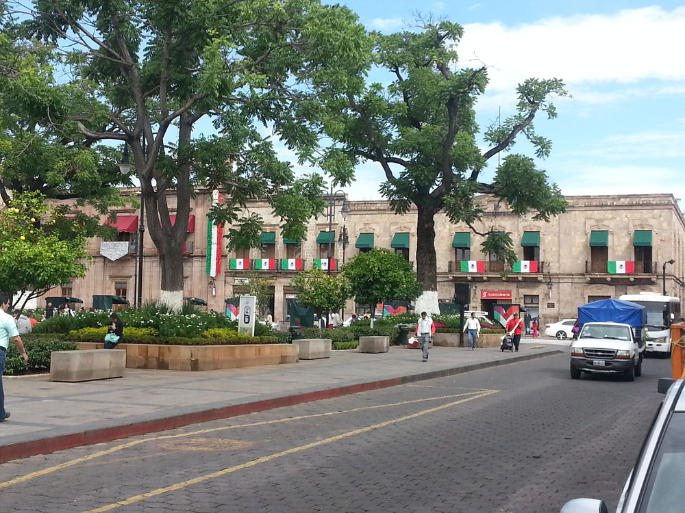 Buildings still decorated from Mexican Independence Day