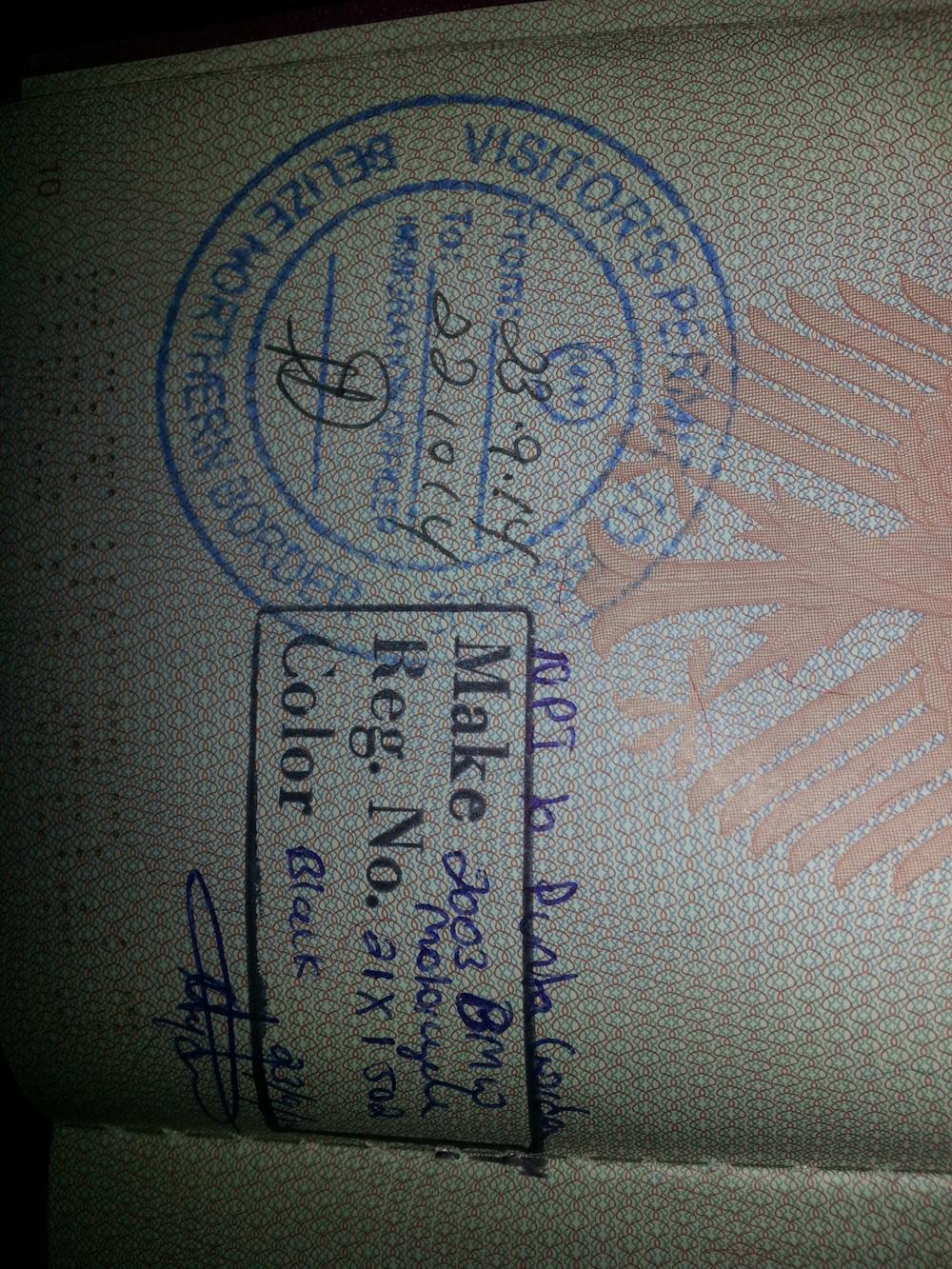 Belize visa...sideways
